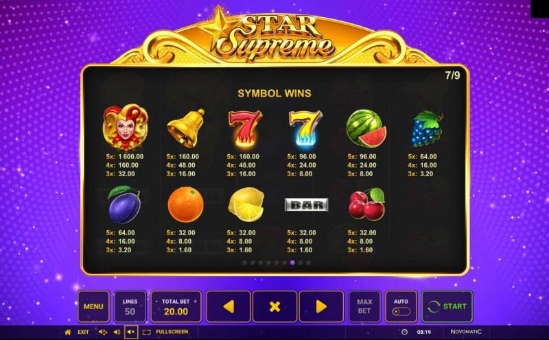 Star Supreme :: Paytable