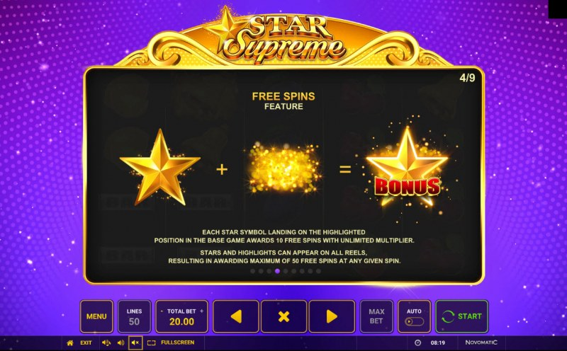Star Supreme :: Free Spin Feature Rules