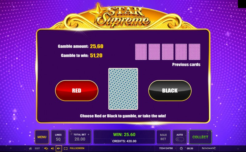 Star Supreme :: Red or Black Gamble Feature