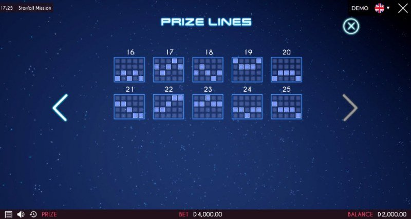 Starfall Mission :: Prize Lines 16-25