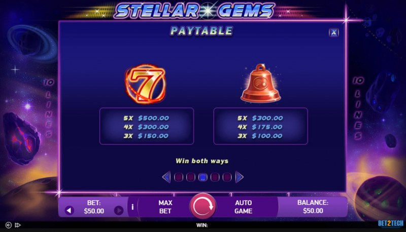 Stellar Gems :: Paytable - High Value Symbols