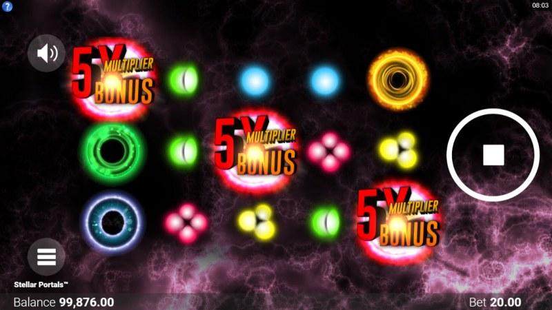 Stellar Portals :: Scatter symbols triggers the free spins bonus feature