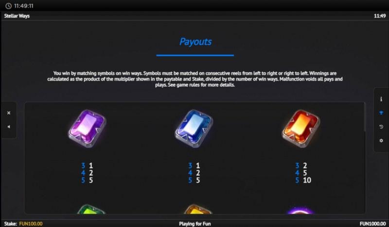 Stellar Ways :: Paytable - Low Value Symbols