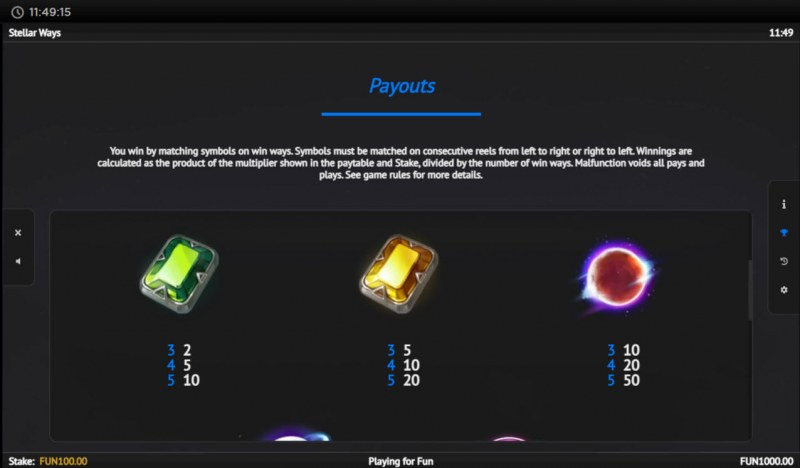Stellar Ways :: Paytable - Medium Value Symbols