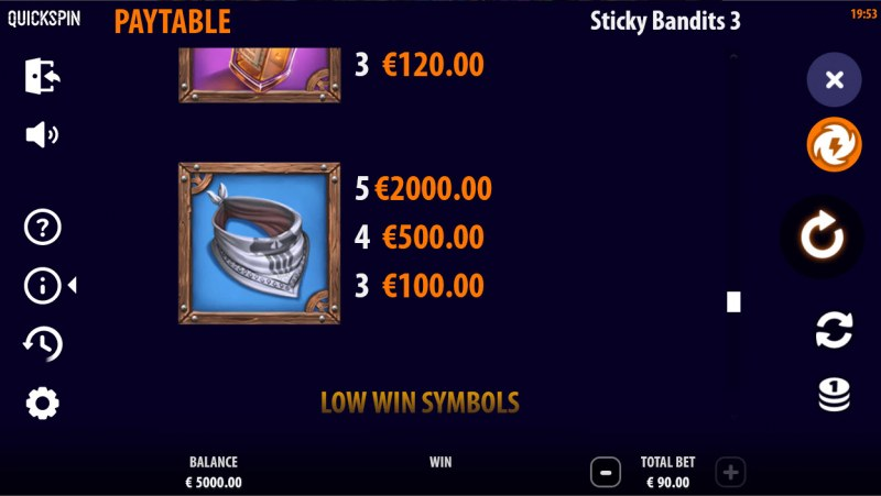 Sticky Bandits 3 Most Wanted :: Paytable - High Value Symbols