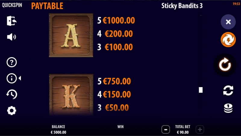 Sticky Bandits 3 Most Wanted :: Paytable - Low Value Symbols