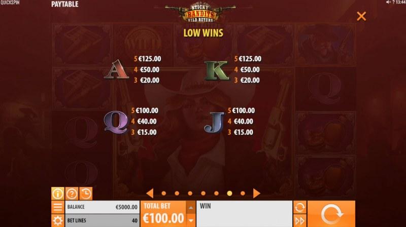 Sticky Bandits Wild Return :: Paytable - Low Value Symbols