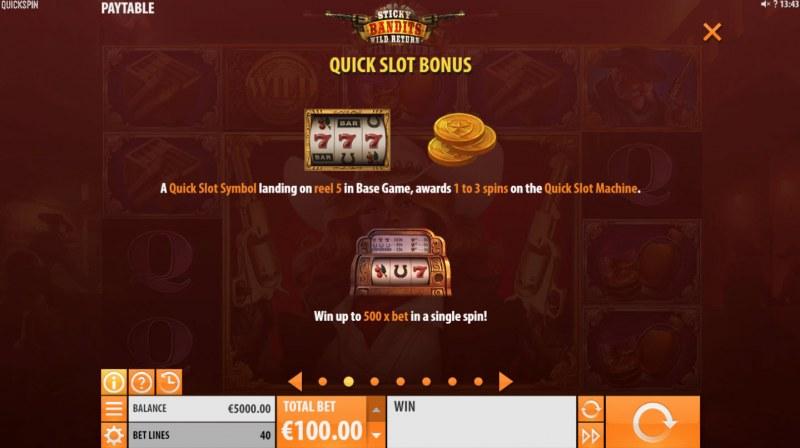 Sticky Bandits Wild Return :: Quick Slot Bonus