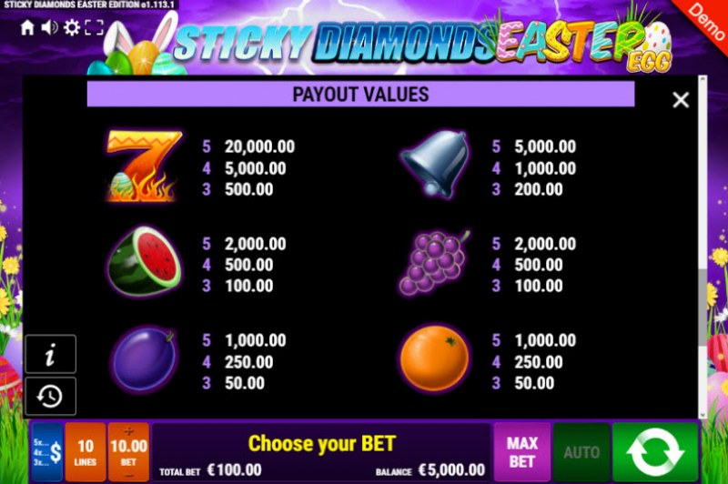 Sticky Diamonds Easter Egg :: Paytable