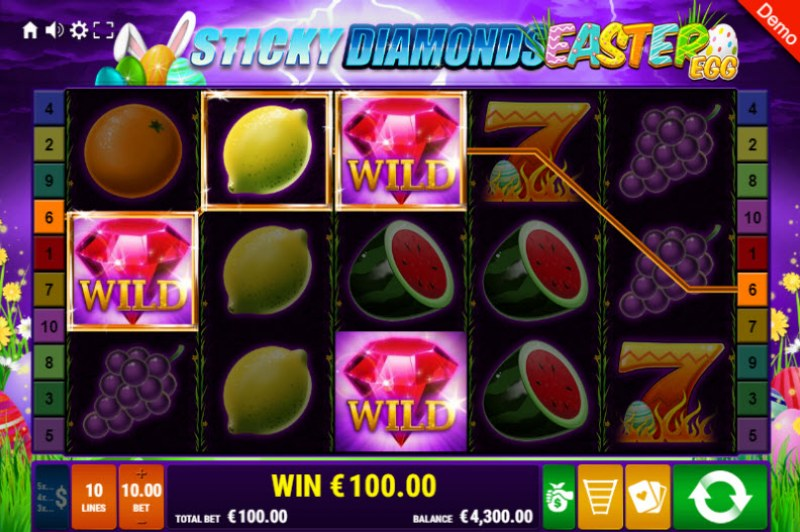 Sticky Diamonds Easter Egg :: Three of a kind win
