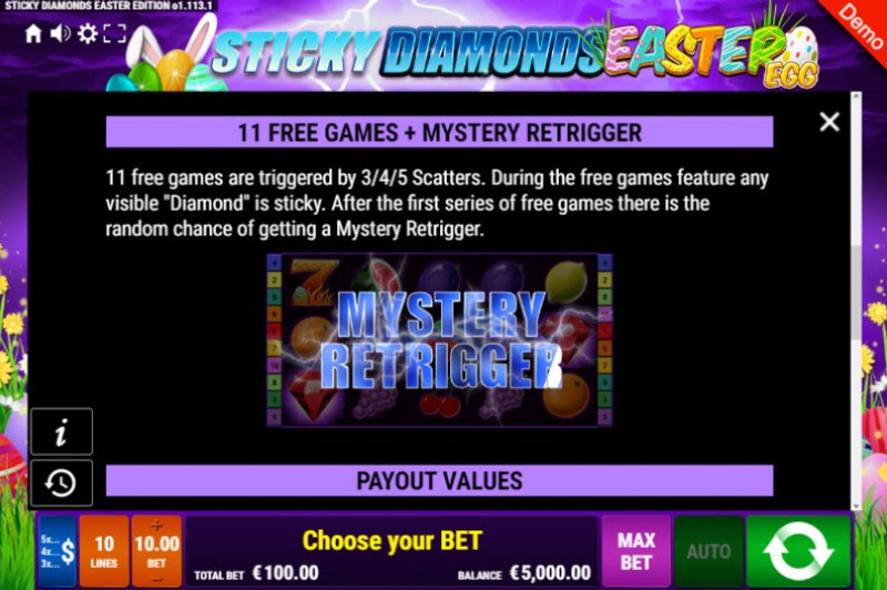 Sticky Diamonds Easter Egg :: Free Spins Rules