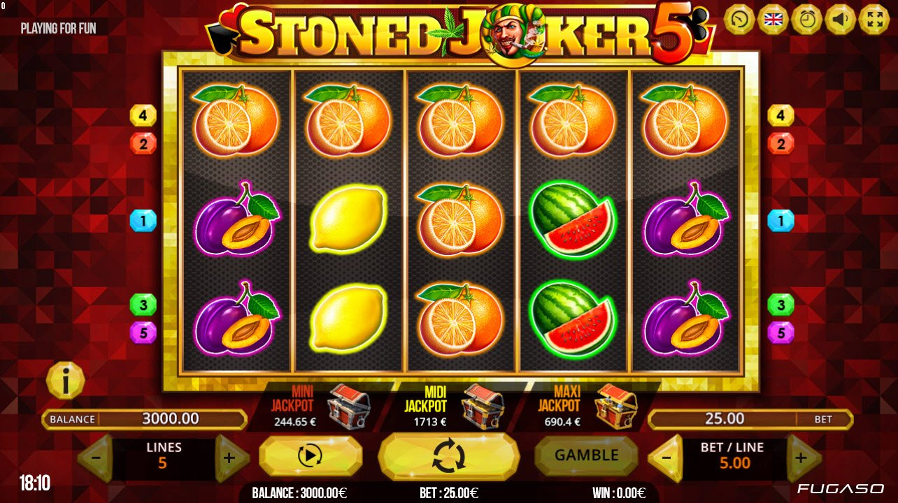 Play slots at Ducky Luck: Ducky Luck featuring the Video Slots Stoned Joker 5 with a maximum payout of $25,000