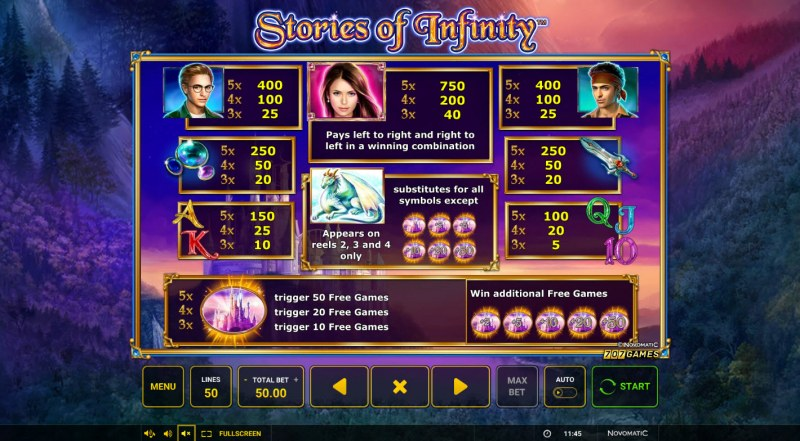 Stories of Infinity :: Paytable
