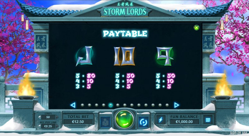 Storm Lords :: Paytable - Low Value Symbols