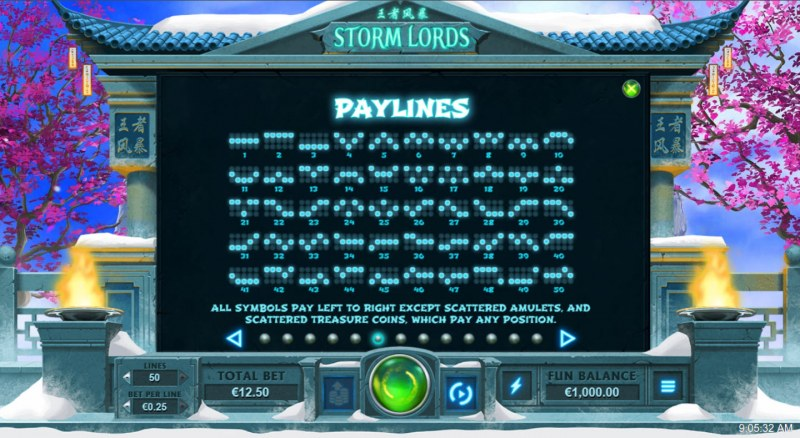 Storm Lords :: Paylines 1-50