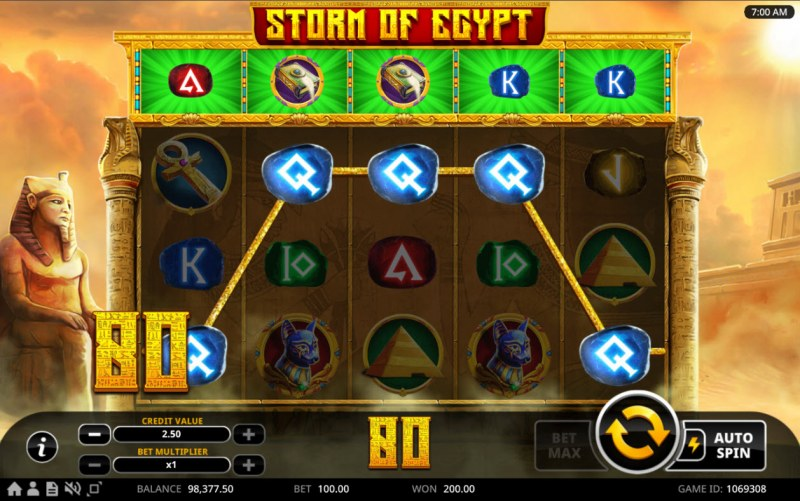 Storm of Egypt :: A five of a kind win