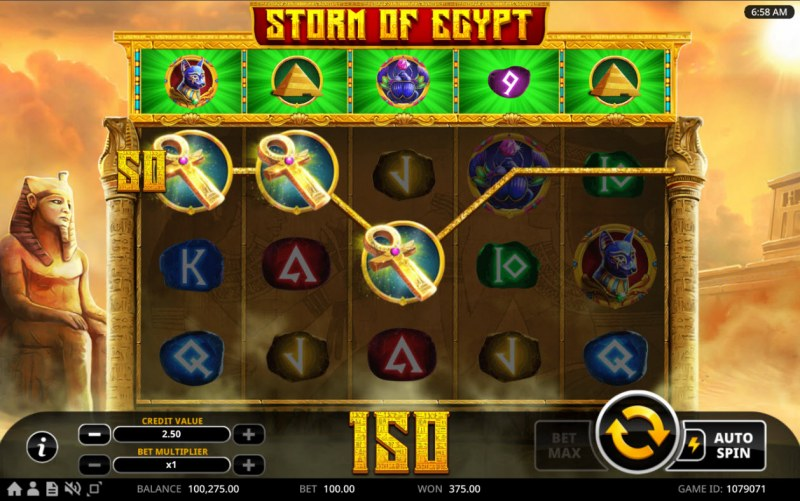 Storm of Egypt :: A three of a kind win