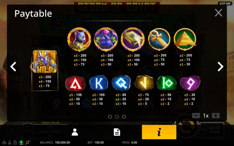 Storm of Egypt :: Paytable