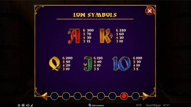 Story of Egypt :: Paytable - Low Value Symbols