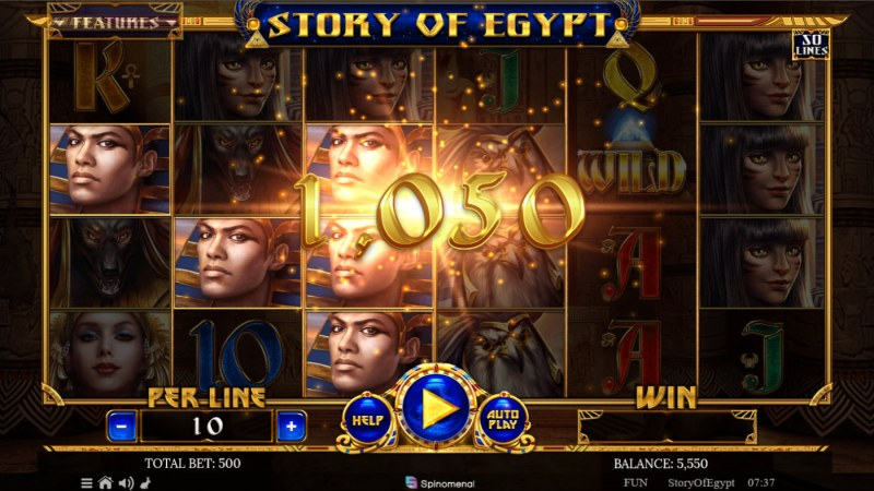 Story of Egypt :: A three of a kind win