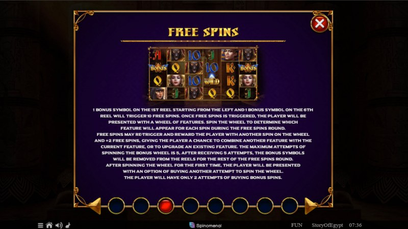 Story of Egypt :: Free Spin Feature Rules