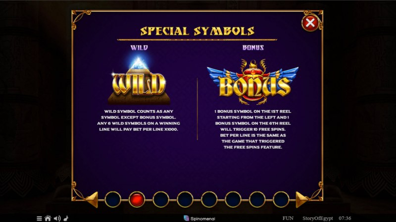 Story of Egypt :: Wild and Scatter Rules