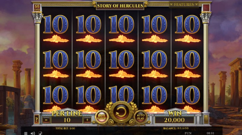 Story of Hercules :: Fully stacked 10 symbols leads to a big win