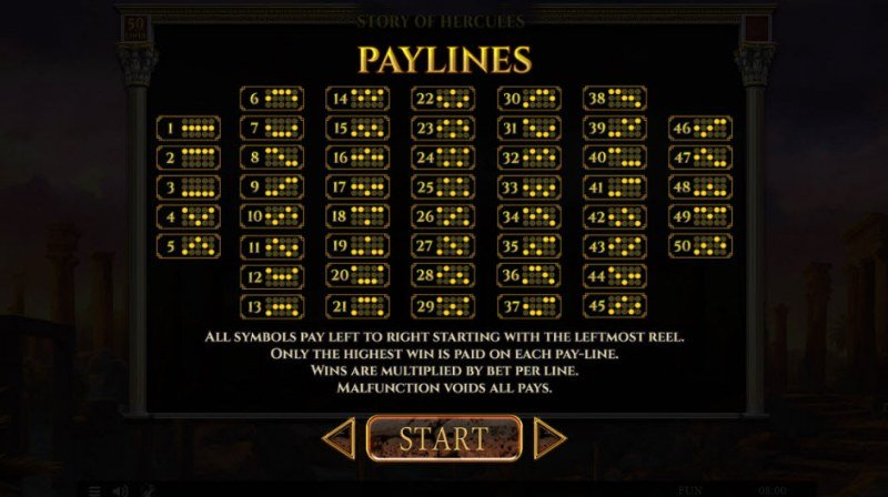 Story of Hercules :: Paylines 1-100