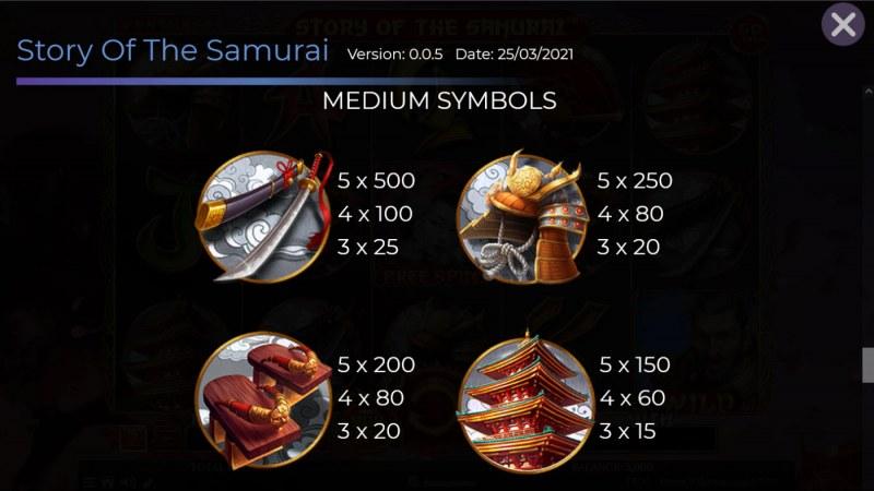 Story of the Samurai :: Paytable - Medium Value Symbols