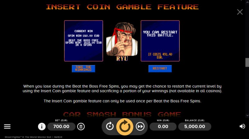 Street Fighter II :: Gamble Feature Rules