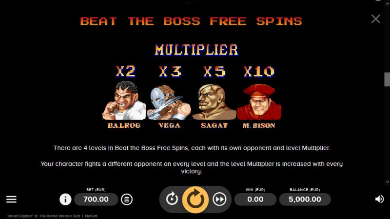 Street Fighter II :: Beat The Boss Free Spins