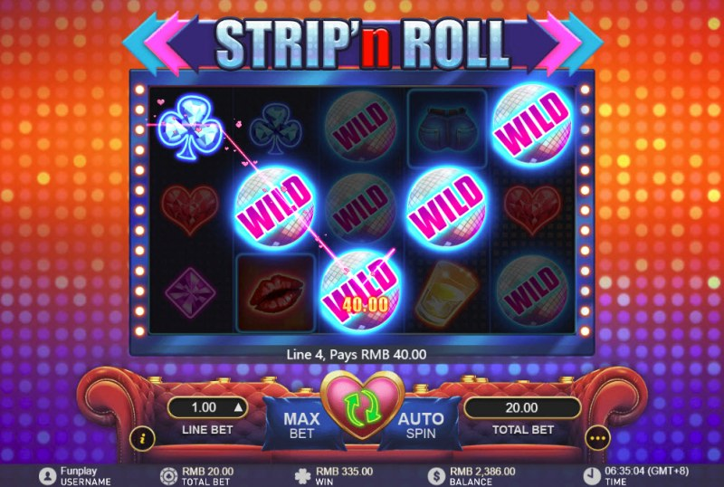 Strip 'n Roll :: Multiple winning combinations leads to a big win