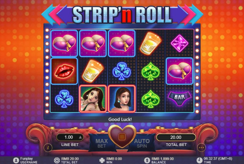 Strip 'n Roll :: Landing girls on the reels activates the expanded wild features
