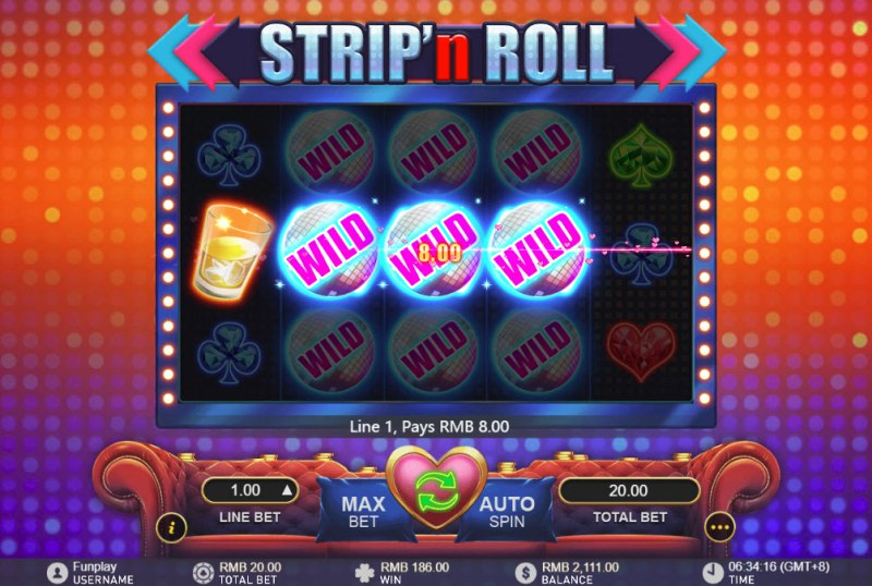 Strip 'n Roll :: Stacked wild symbols triggers multiple winning paylines