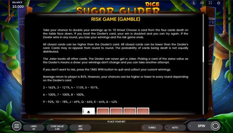 Sugar Glider Dice :: Gamble feature