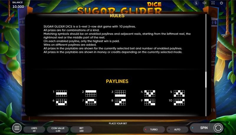 Sugar Glider Dice :: General Game Rules