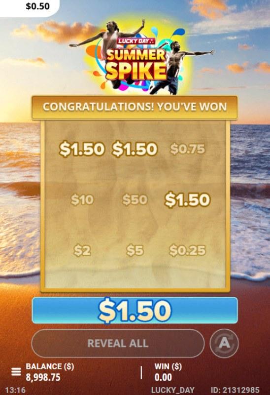 Summer Spike :: A three of a kind win