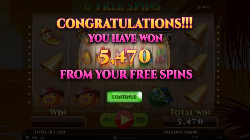 Summer Splash :: Total free spins payout