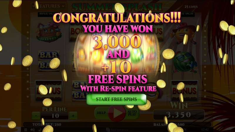 Summer Splash :: 10 Free Spins Awarded