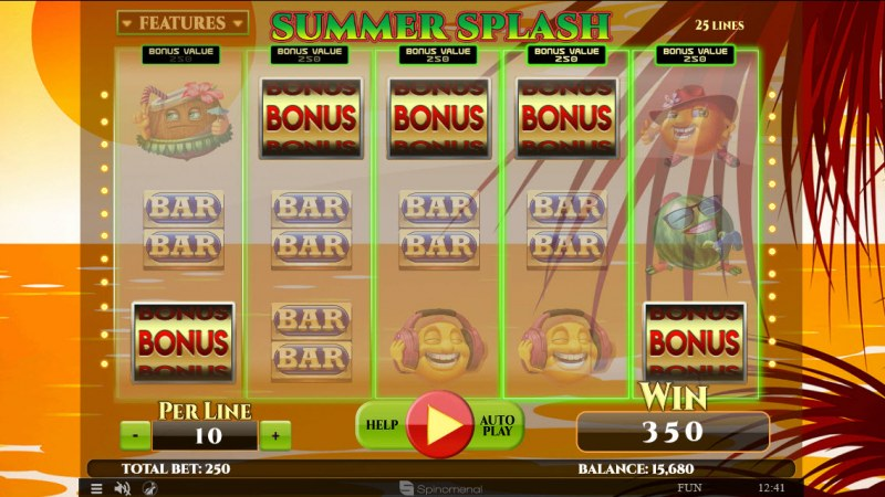 Summer Splash :: Scatter symbols triggers bonus wheel feature