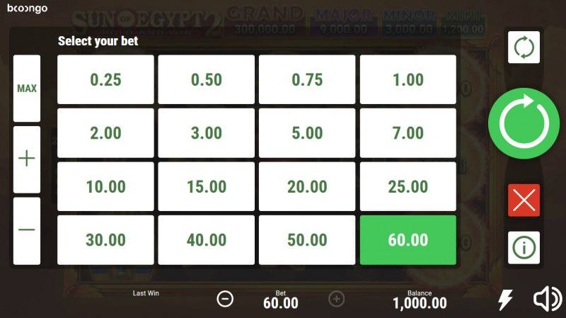 Sun of Egypt 2 :: Select your bet