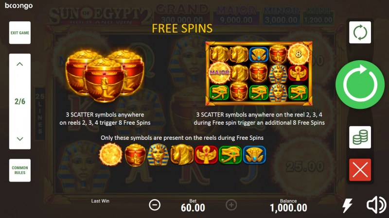 Sun of Egypt 2 :: Free Spin Feature Rules