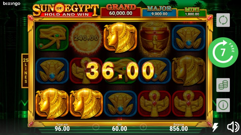 Sun of Egypt Hold and Win :: A three of a kind win