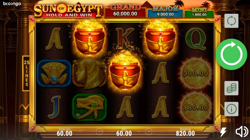 Sun of Egypt Hold and Win :: Scatter symbols triggers the free spins bonus feature