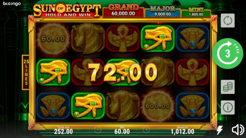 Sun of Egypt Hold and Win :: A four of a kind win