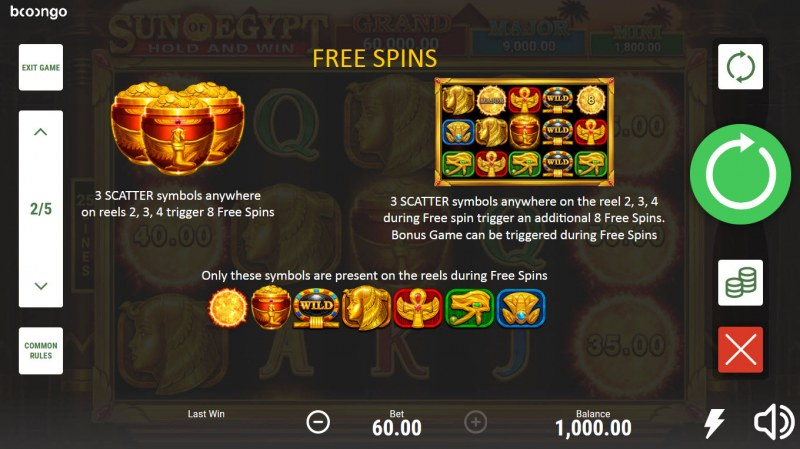Sun of Egypt Hold and Win :: Free Spin Feature Rules