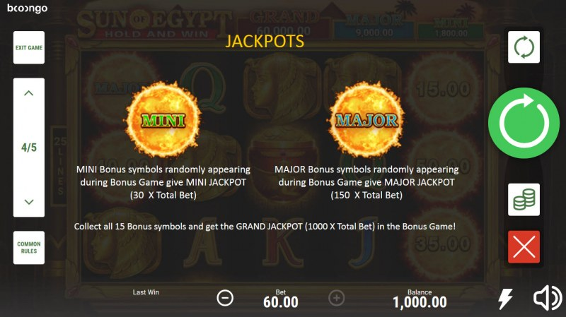 Sun of Egypt Hold and Win :: Jackpot Rules