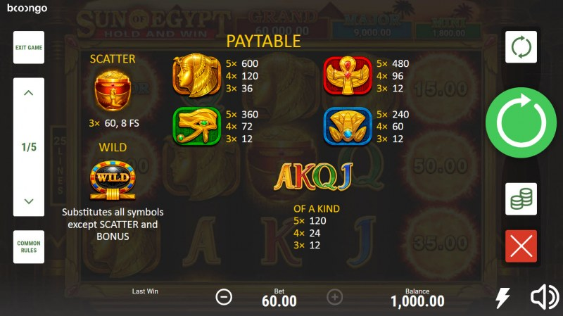 Sun of Egypt Hold and Win :: Paytable