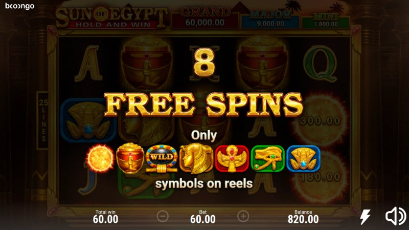 Sun of Egypt Hold and Win :: 8 free spins awarded