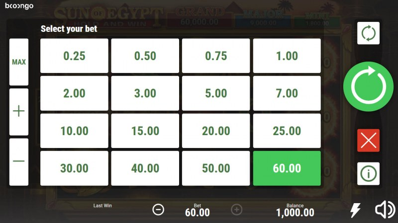 Sun of Egypt Hold and Win :: Select your bet